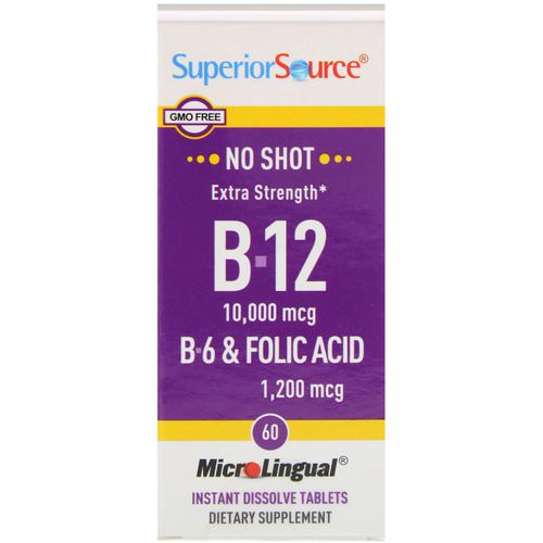 Superior Source, Extra Strength B-12, B-6 & Folic Acid, 10,000 mcg / 1,200 mcg, 60 MicroLingual Instant Dissolve Tablets Review
