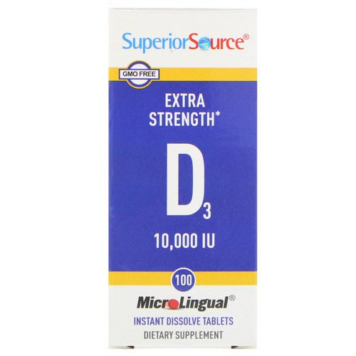 Superior Source, Extra Strength Vitamin D3, 10,000 IU, 100 MicroLingual Instant Dissolve Tablets Review