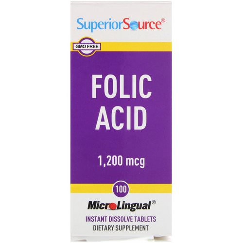 Superior Source, Folic Acid, 1,200 mcg, 100 MicroLingual Instant Dissolve Tablets Review
