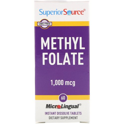 Superior Source, Methyl Folate, 1,000 mcg, 60 MicroLingual Instant Dissolve Tablets Review