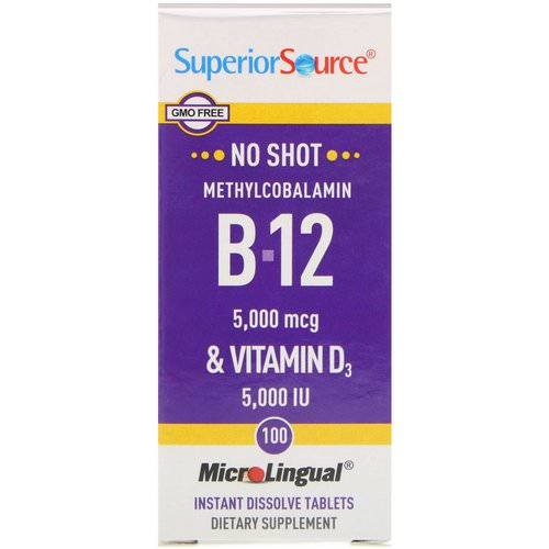 Superior Source, Methylcobalamin B-12 & Vitamin D3, 5,000 mcg / 5,000 IU, 100 MicroLingual Instant Dissolve Tablets Review