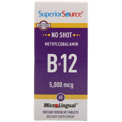 Superior Source, Methylcobalamin B12, 5000 mcg, 60 MicroLingual Instant Dissolve Tablets Review