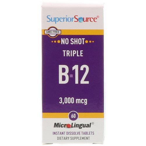 Superior Source, Triple B-12, 3,000 mcg, 60 MicroLingual Instant Dissolve Tablets Review