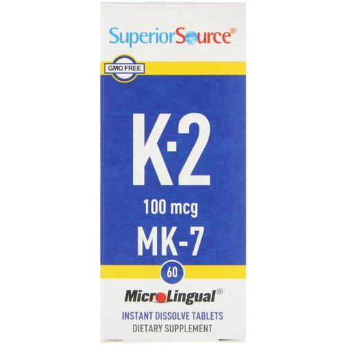 Superior Source, Vitamin K-2, 100 mcg, 60 Microlingual Instant Dissolve Tablets Review