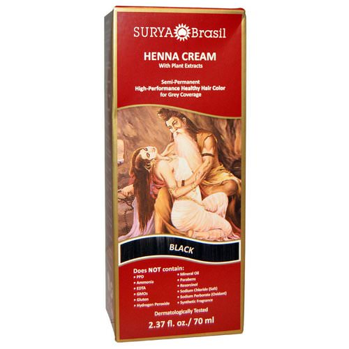 Surya Brasil, Henna Cream, Hair Color and Conditioner, Black, 2.37 fl oz (70 ml) Review