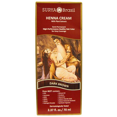 Surya Brasil, Henna Cream, High-Performance Healthy Hair Color for Grey Coverage, Dark Brown, 2.37 fl oz (70 ml) Review