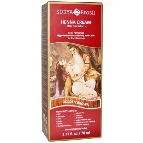 Surya Brasil, Henna Cream, High-Performance Healthy Hair Color for Grey Coverage, Golden Brown, 2.37 fl oz (70 ml) Review