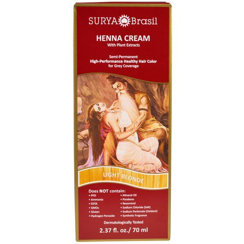 Surya Brasil, Henna Cream, High-Performance Healthy Hair Color for Grey Coverage, Light Blonde, 2.37 fl oz (70 ml) Review