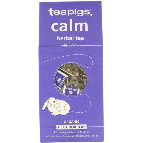 TeaPigs, Calm Herbal Tea with Valerian, Caffeine Free, 15 Tea Temples, 1.05 oz (30 g) Review