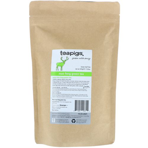 TeaPigs, Green with Envy, Mao Feng Green Tea, Loose Leaf Tea, 7.05 oz (200 g) Review