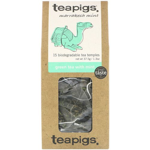 TeaPigs, Marrakesh Mint, Green Tea with Mint, 15 Tea Temples, 1.3 oz (37.5 g) Review