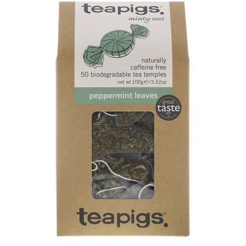 TeaPigs, Minty Cool, Peppermint Leaves, Caffeine Free, 50 Tea Temples, 3.52 oz (100 g) Review