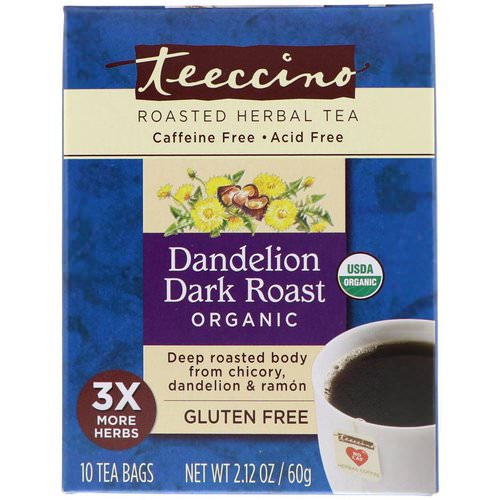Teeccino, Roasted Herbal Tea, Dandelion Dark Roast, Organic, Caffeine Free, 10 Tea Bags, 2.12 oz (60 g) Review