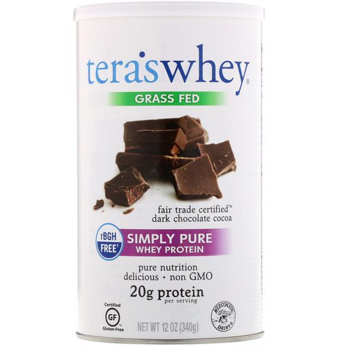Tera's Whey, Grass Fed, Simply Pure Whey Protein, Fair Trade Dark Chocolate Cocoa, 12 oz (340 g) Review