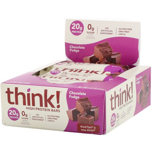 ThinkThin, High Protein Bars, Chocolate Fudge, 10 Bars, 2.1 oz (60 g) Each Review