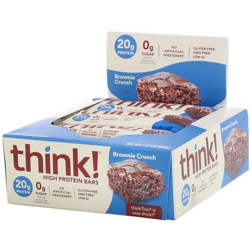 ThinkThin, High Protein Bars, Brownie Crunch, 10 Bars, 2.1 oz (60 g) Each Review