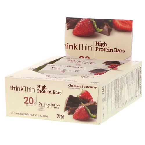 ThinkThin, High Protein Bars, Chocolate Strawberry, 10 Bars, 2.1 oz (60 g) Each Review