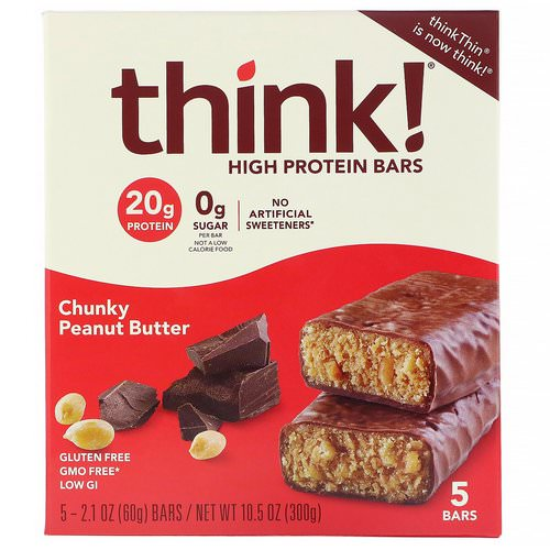 ThinkThin, High Protein Bars, Chunky Peanut Butter, 5 Bars, 2.1 oz (60 g) Each Review