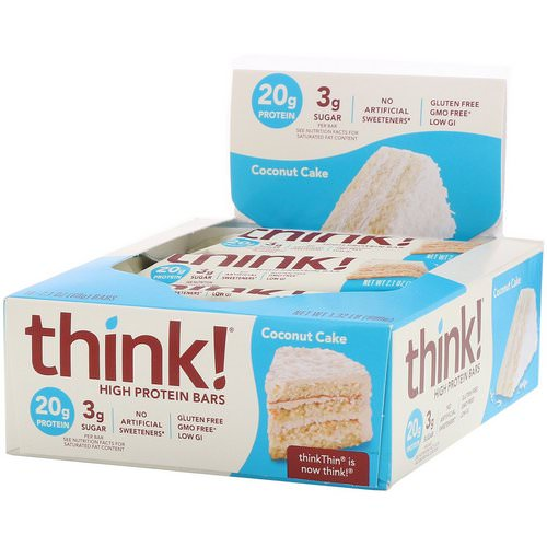 ThinkThin, High Protein Bars, Coconut Cake, 10 Bars, 2.1 oz (60 g) Each Review