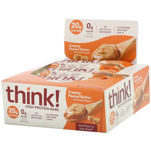 ThinkThin, High Protein Bars, Creamy Peanut Butter, 10 Bars, 2.1 oz (60 g) Each Review