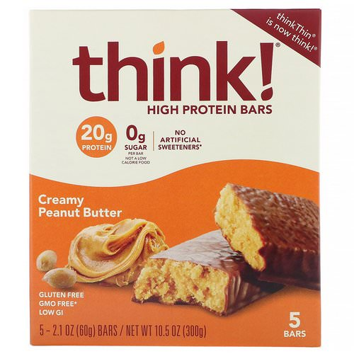 ThinkThin, High Protein Bars, Creamy Peanut Butter, 5 Bars, 2.1 oz (60 g) Each Review
