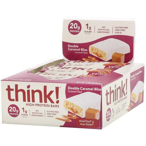 ThinkThin, High Protein Bars, Double Caramel Bliss, 10 Bars, 2.18 oz (62 g) Each Review