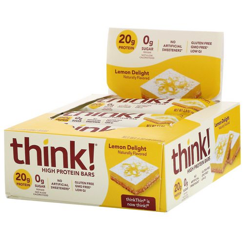 ThinkThin, High Protein Bars, Lemon Delight, 10 Bars, 2.1 oz (60 g) Each Review