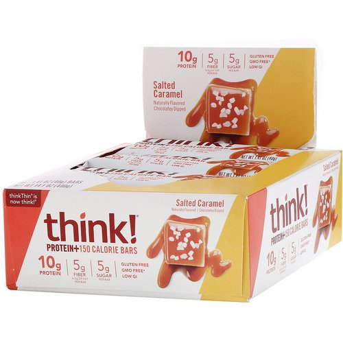 ThinkThin, Protein+ 150 Calorie Bars, Salted Caramel, 10 Bars, 1.41 oz (40 g) Each Review