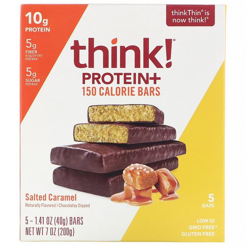 ThinkThin, Protein+ 150 Calorie Bars, Salted Caramel, 5 Bars, 1.41 oz (40 g) Each Review