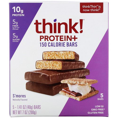 ThinkThin, Protein+ 150 Calorie Bars, Smore's, 5 Bars, 1.41 oz (40 g) Each Review