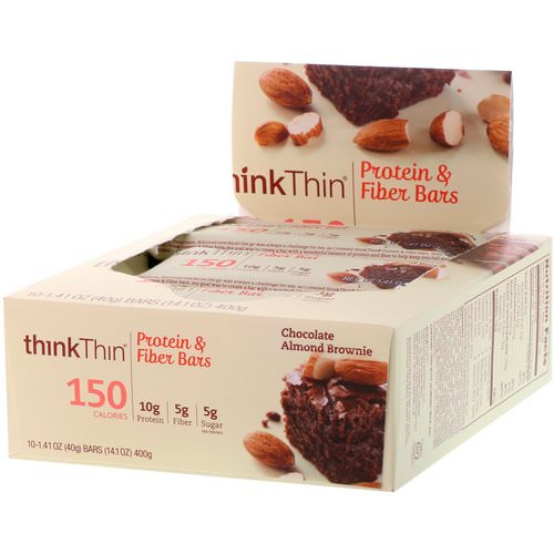 ThinkThin, Protein & Fiber Bars, Chocolate Almond Brownie, 10 Bars, 1.41 oz (40 g) Each Review