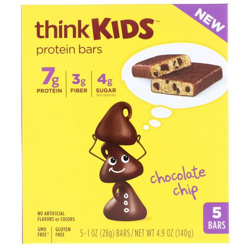 ThinkThin, ThinkKids, Protein Bars, Chocolate Chip, 5 Bars, 1 oz (28 g) Each Review
