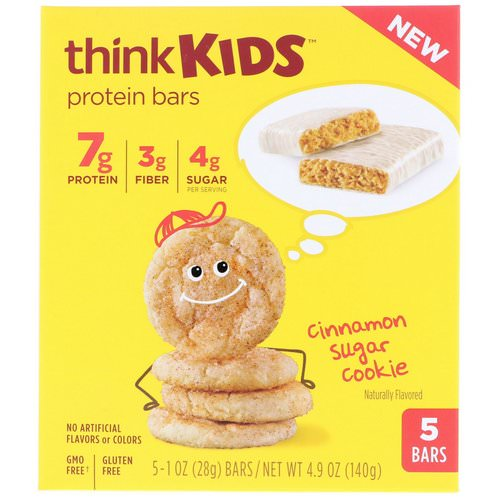 ThinkThin, ThinkKids, Protein Bars, Cinnamon Sugar Cookie, 5 Bars, 1 oz (28 g) Each Review