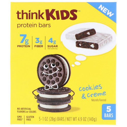 ThinkThin, ThinkKids, Protein Bars, Cookies & Creme, 5 Bars, 1 oz (28 g) Each Review