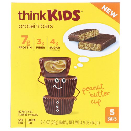 ThinkThin, ThinkKids, Protein Bars, Peanut Butter Cup, 5 Bars, 1 oz (28 g ) Each Review
