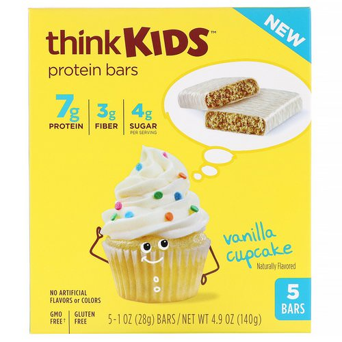 ThinkThin, ThinkKids, Protein Bars, Vanilla Cupcake, 5 Bars, 1 oz (28 g ) Each Review