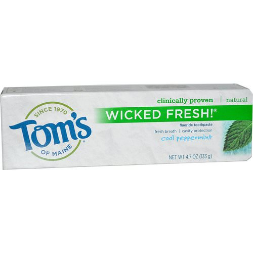 Tom's of Maine, Wicked Fresh! Fluoride Toothpaste, Cool Peppermint, 4.7 oz (133 g) Review