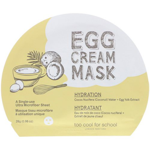 Too Cool for School, Egg Cream Mask, Hydration, 1 Sheet, (0.98 oz) 28 g Review