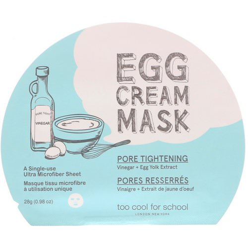 Too Cool for School, Egg Cream Mask, Pore Tightening, 1 Sheet, 0.98 oz (28 g) Review