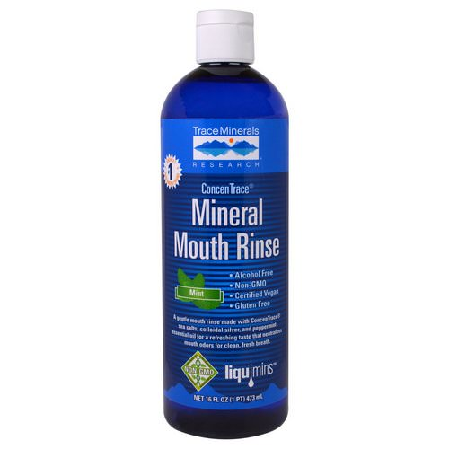 Trace Minerals Research, ConcenTrace Mineral Mouth Rinse, Mint, 16 fl oz (473 ml) Review
