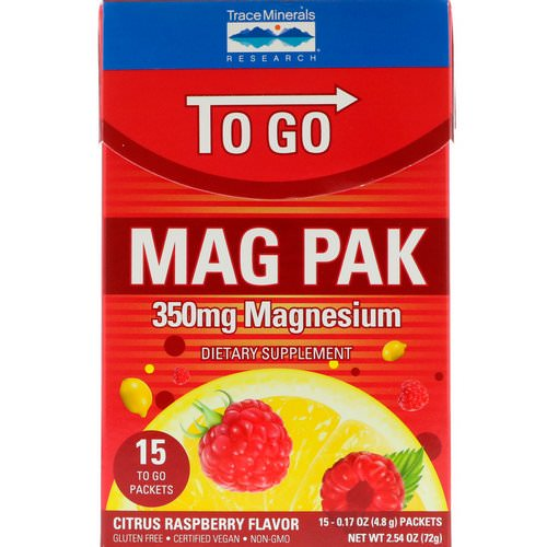 Trace Minerals Research, Mag Pak To Go, Magnesium Powder, Citrus Raspberry Flavor, 350 mg, 15 Packets, 0.17 oz (4.8 g) Each Review
