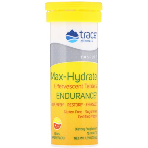 Trace Minerals Research, Max-Hydrate Endurance, Effervescent Tablets, Citrus, 1.59 oz (45 g) Review