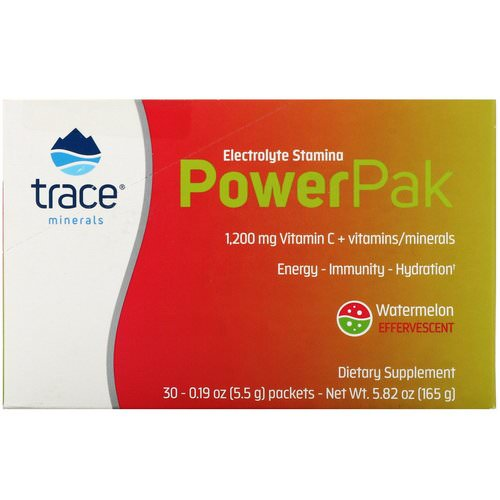 Trace Minerals Research, Electrolyte Stamina, Power Pak, Watermelon Effervescent, 30 Packets, 0.19 oz (5.5 g) Each Review