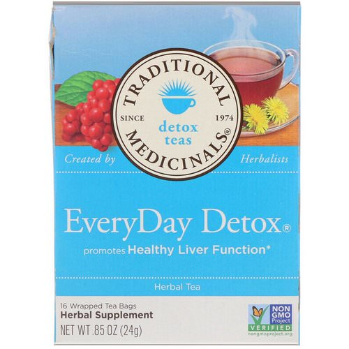 Traditional Medicinals, Detox Teas, EveryDay Detox, 16 Wrapped Tea Bags, .85 oz (24 g) Review