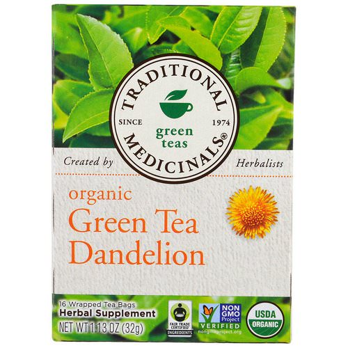 Traditional Medicinals, Green Teas, Organic Green Tea Dandelion, 16 Wrapped Tea Bags, 1.13 oz (32 g) Review