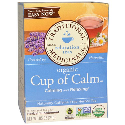 Traditional Medicinals, Herbal Teas, Organic Cup of Calm, Naturally Caffeine Free, 16 Wrapped Tea Bags, 0.85 oz (24 g) Review