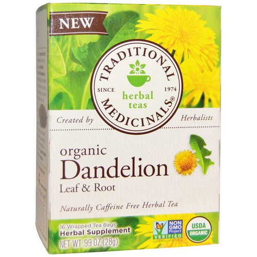 Traditional Medicinals, Herbal Teas, Organic Dandelion Leaf & Root Tea, Naturally Caffeine Free, 16 Wrapped Tea Bags, .99 oz (28 g) Review
