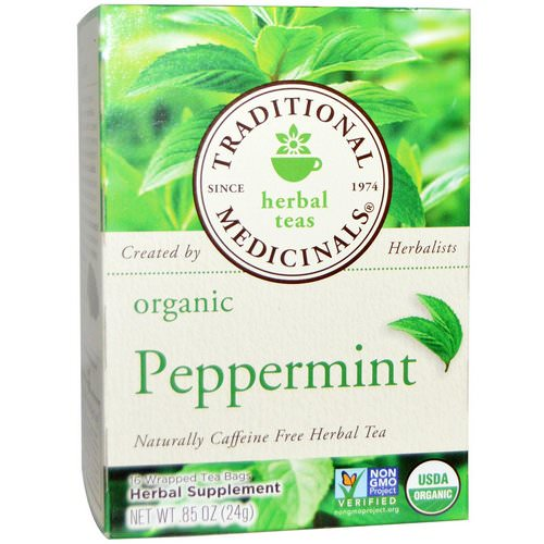 Traditional Medicinals, Herbal Teas, Organic Peppermint, Naturally Caffeine Free, 16 Wrapped Tea Bags, .85 oz. (24 g) Review