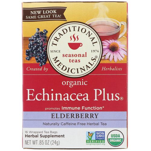 Traditional Medicinals, Organic Echinacea Plus, Elderberry, Caffeine Free, 16 Wrapped Tea Bags, .85 oz (24 g) Review