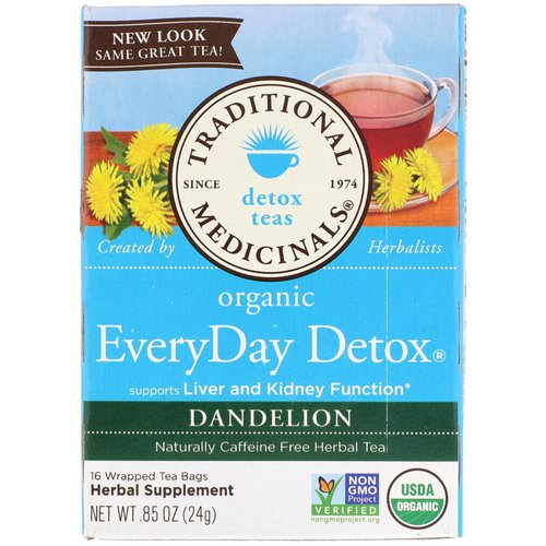 Traditional Medicinals, Organic EveryDay Detox Tea, Dandelion, Caffeine Free, 16 Wrapped Tea Bags, .85 (24 g) Review